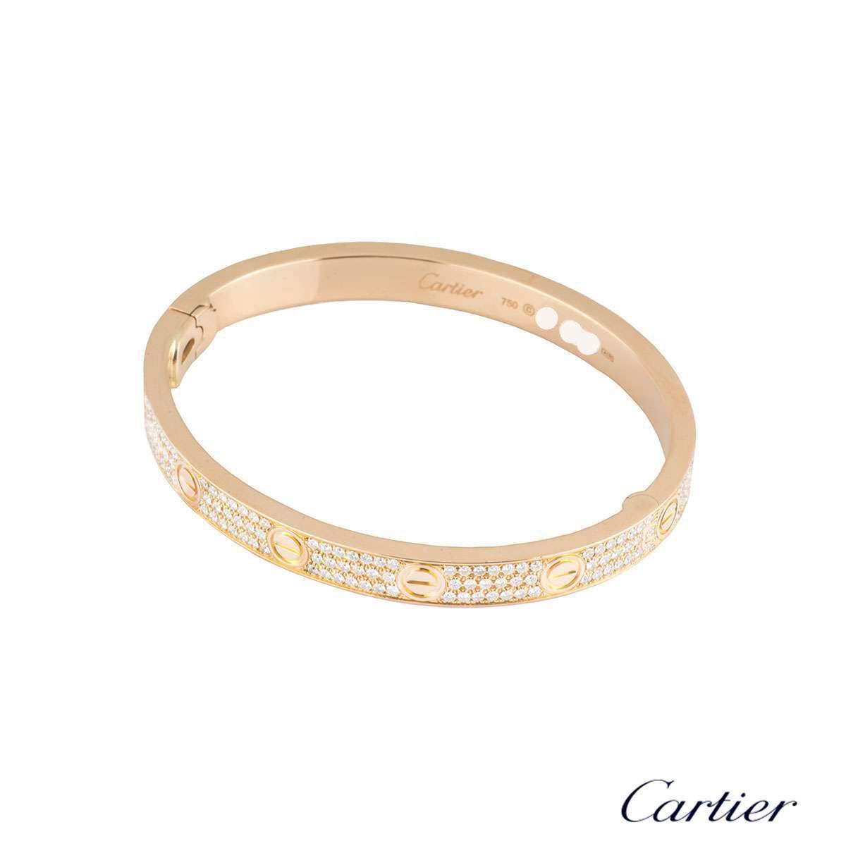Cartier Infinity Bracelet: Cartier Rose Gold Pave Diamond Love Bracelet Size 17